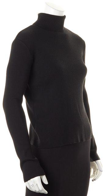 D&G Black Solid Wool Long Sleeve Turtleneck Top