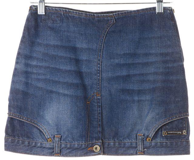 D&G Blue Medium Wash Upside Down Denim Jean Mini Skirt