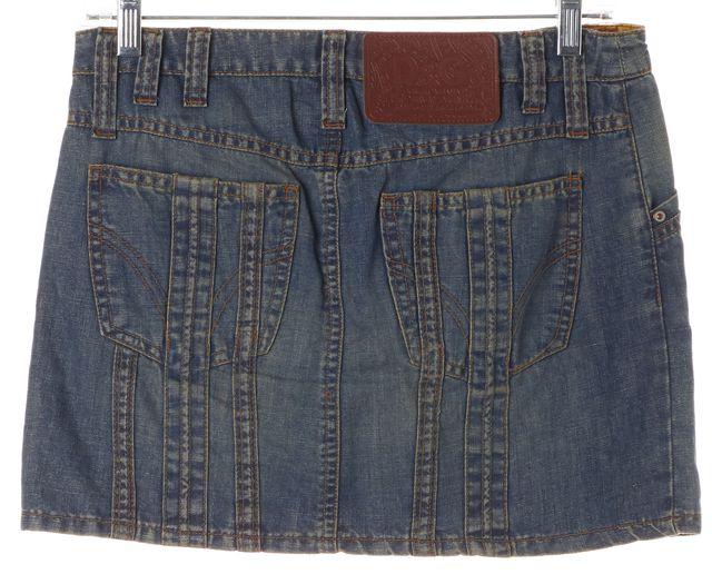 D&G Blue Stretch Cotton Denim Above Knee Straight Skirt