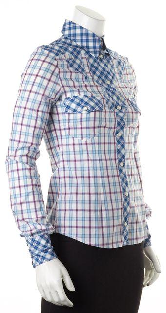D&G Blue Purple White Plaid Long Sleeve Button Down Shirt