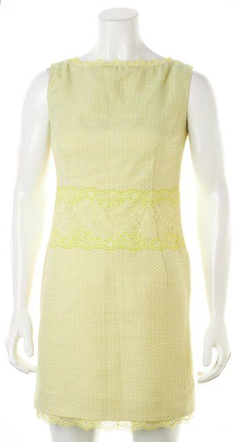 D&G Green Lace Trim Sleeveless Above Knee Sheath Dress