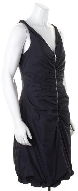D&G Black Ruched Sleeveless Zip Front Sheath Dress