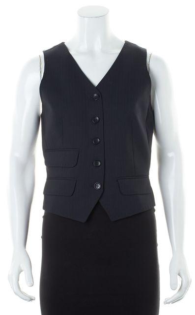 D&G Black Wool Cotton Pinstriped Sleeveless Vest