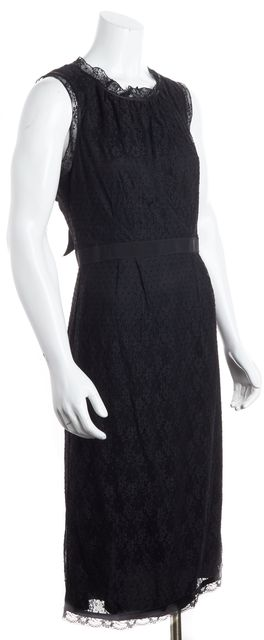D&G Black Lace Empire Waist Tie-Back Midi Dress