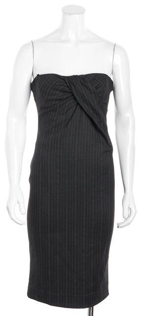 D&G Dark Gray Pin Striped Strapless Sheath Dress