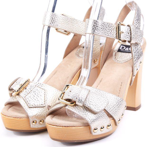 D&G Metallic Gold Leather Buckle Trim Platforms Sandals Heels