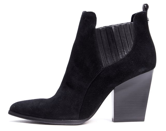 DONALD J PLINER Black Suede Pointed-Toe Ankle Boots