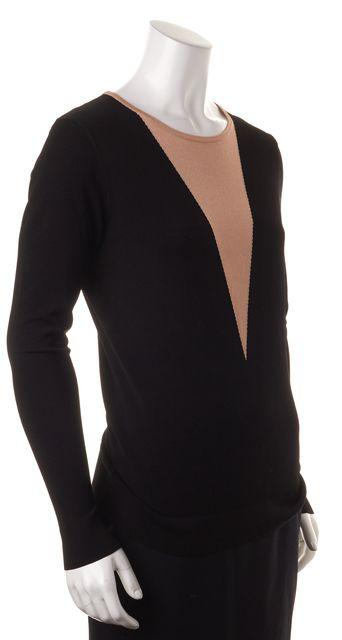 DKNY Black Beige Colorblock Long Sleeve Knit Top