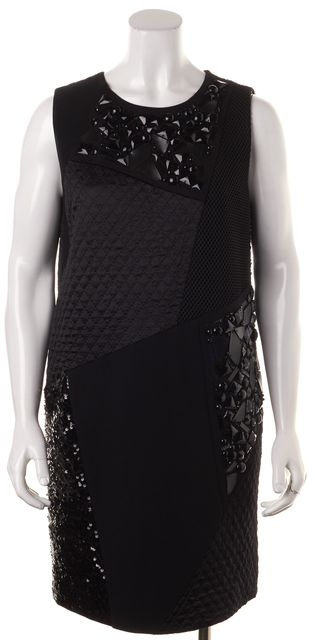 DKNY Black Sequin Jewel Embellished Quilted Sleeveless Shift Dress