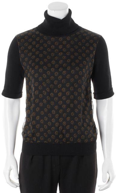 DKNY Black Brown Floral Silk Merino Wool Turtleneck Knit Top