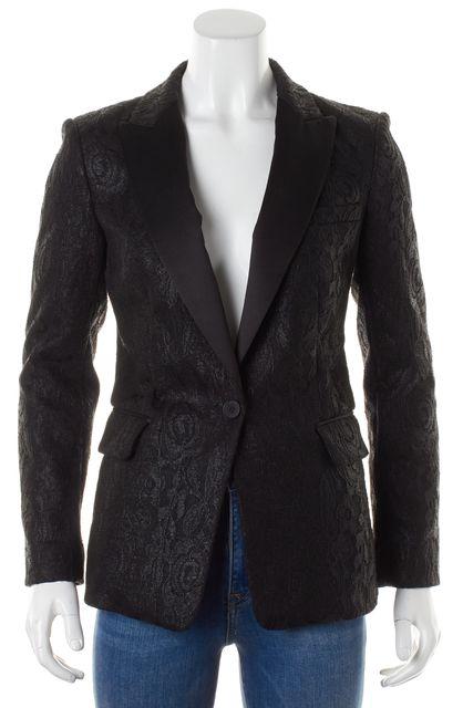 DKNY Black Lace Pocket Front Single Button Blazer