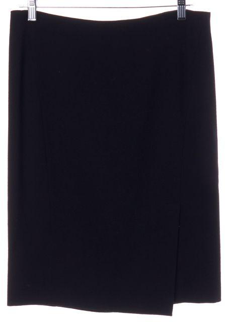 DONNA KARAN Black Wool Side Slit Skirt