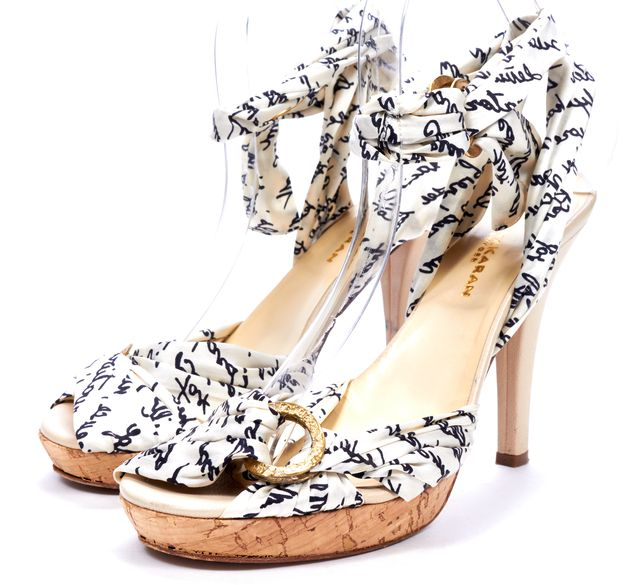 DONNA KARAN White Abstract Silk Wrap Sandals