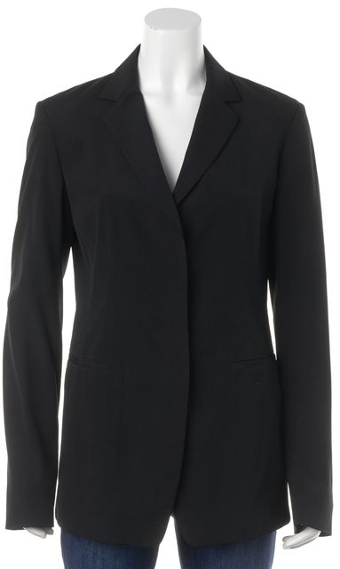 DONNA KARAN Black Casual Wool Classic Career Blazer
