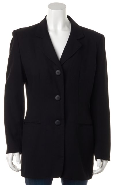 DONNA KARAN Black Wool Pocket Front Blazer