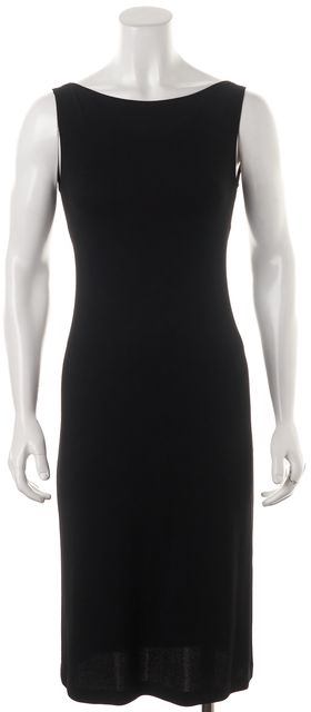 DONNA KARAN Black Jersey Sleeveless Low Back Sheath Dress