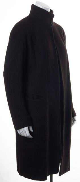 DONNA KARAN Brown Long Wool Open Drape Basic Coat