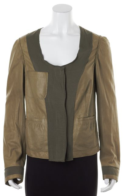 DONNA KARAN Olive Green Patchwork Lamb Leather Jersey Combo Jacket