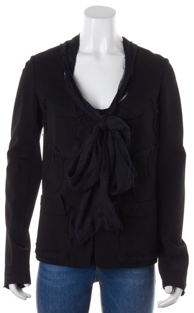 DONNA KARAN Black Solid Basic Silk Fray Trim Ribbon Jacket