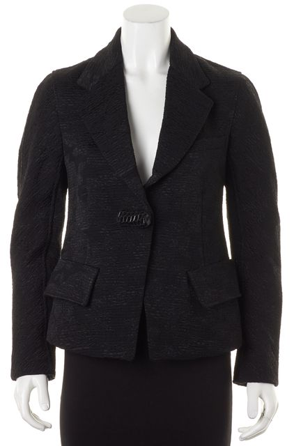 DONNA KARAN Black Wool Woven Blazer Jacket