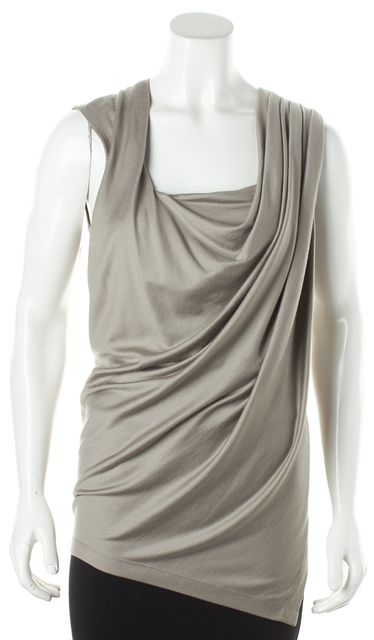 DONNA KARAN Gray Wool Pleated Draped Side Slit Knit Blouse Top