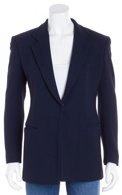 DONNA KARAN Navy Blue One-Button Blazer