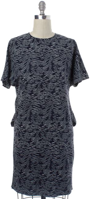DEREK LAM Navy Blue White Geometric Silk Sheath Dress