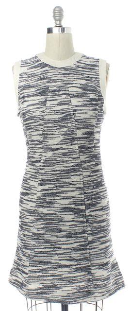 DEREK LAM White Blue Geometric Sheath Dress
