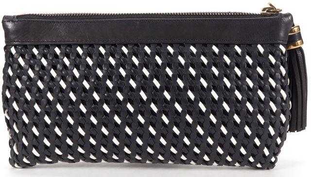 DEREK LAM Black White Braided Leather Tassel Clutch Bag