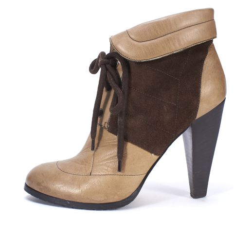 DEREK LAM Khaki Brown Leather Suede Stacked Heel Lace Up Ankle Boots Size 39