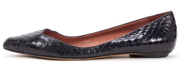 DEREK LAM Black Python Embossed Leather Flats