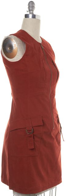 DEREK LAM Dust Orange Casual Sheath Zip Front Two-pocket Dress