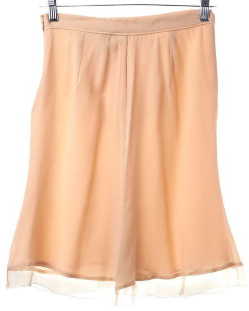 DEREK LAM Blush Pink Crepe Silk Ruffled Straight Skirt