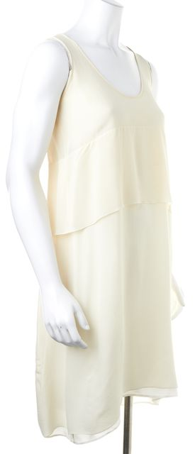 DEREK LAM Ivory Silk Sleeveless Above Knee Tiered Shift Dress