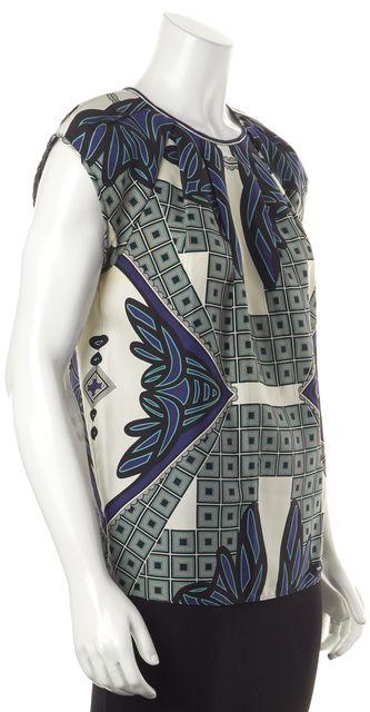 DEREK LAM Multi-Color Abstract Silk Blouse