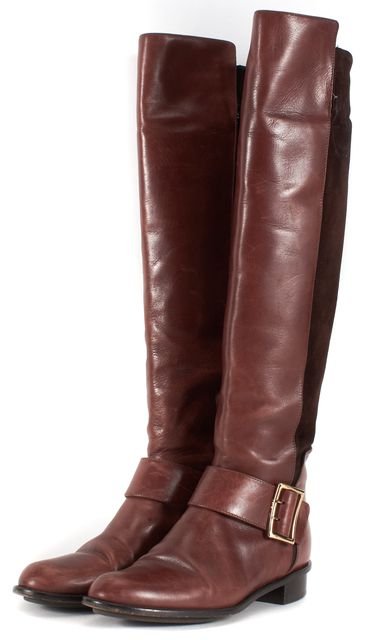 DEREK LAM Brown Leather Suede Tall Knee-High Boots