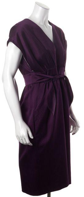 DEREK LAM Purple Cotton Silk Textured Satin Wrap Style Blouson Dress