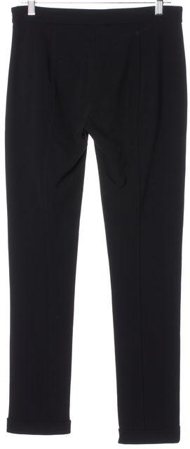 DEREK LAM Black Faux Leather Trim Cuffed Leggings Dress Pants