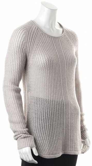 DEREK LAM Gray Cashmere Open Knit Crewneck Sweater