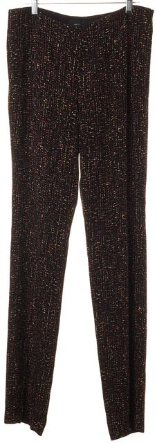 DEREK LAM Black Red Abstract Side Zipped Casual Pants