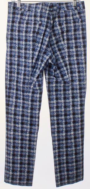 DEREK LAM Blue White Plaid Slim Leg Trousers Pants
