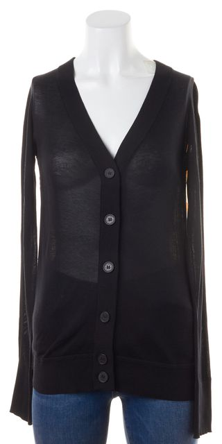 DEREK LAM 10 CROSBY Black Floral Print Silk Two Tone Button Up Cardigan
