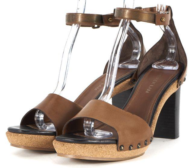 DEREK LAM Brown Leather Stud Embellished Ankle Strap Sandals Heels