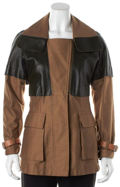 DEREK LAM Brown Black Leather Panel Coat