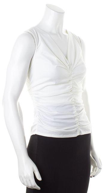 DEREK LAM White Ruched Stretch Cotton Sleeveless V-Neck Blouse Top