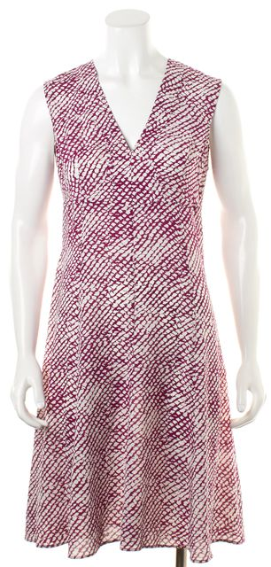 DEREK LAM Purple White Abstract Spot Print Sleeveless V-Neck Shift Dress
