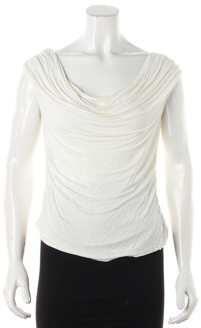 DEREK LAM Ivory Draped Blouse Top