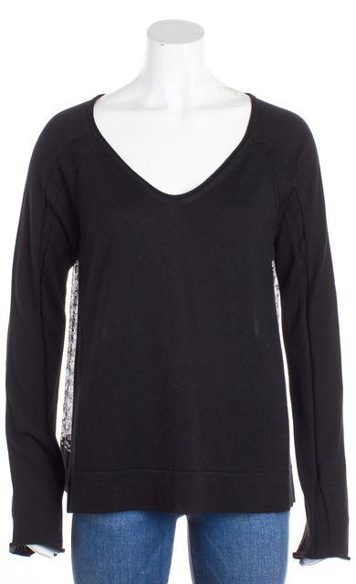 DEREK LAM Black White Cashmere Silk Knit Sheer Printed Back V-Neck Top