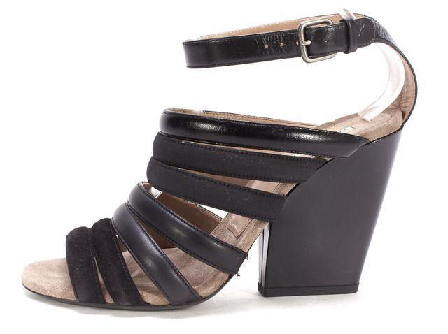 DRIES VAN NOTEN Black Leather Suede Canvas Mixed Media Wedge Sandals