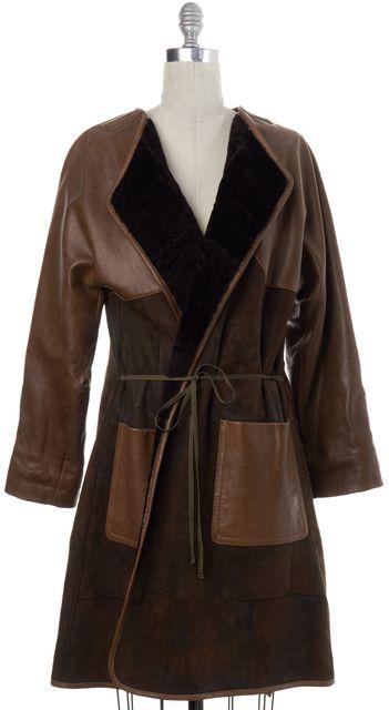 DRIES VAN NOTEN Brown Lamb Leather Suede Fur Jacket Coat